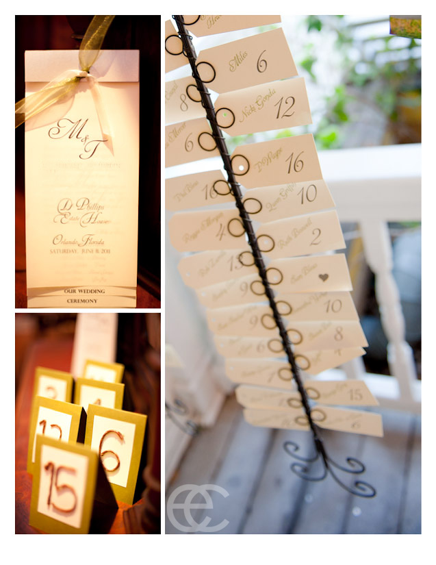 Place cards-table numbers-programs