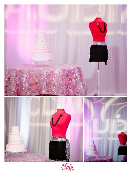Quince cake table - pink sparkle